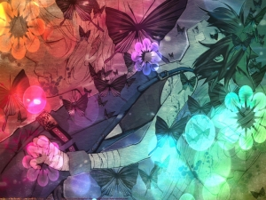 flowers butterfly nekomimi loveless rainbows cat ears anime anime boys ritsuka aoyagi bandages seime_www.wallpaperhi.com_66